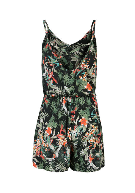 Ladies' Strappy Printed Romper, GREEN TROPIC, hi-res