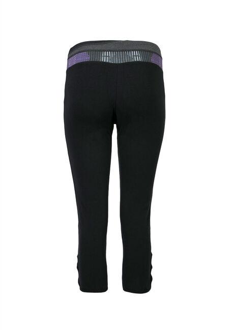 Ladies' Pattern Waistband Capri Legging, BLACK, hi-res
