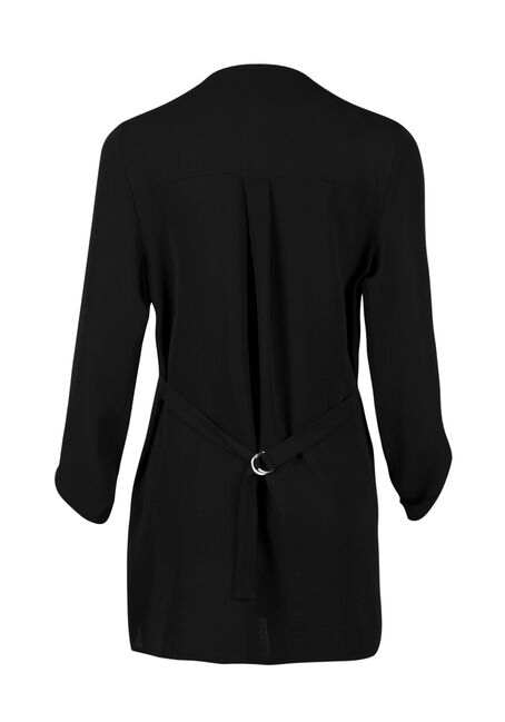 Ladies' Drape Front Open Blazer, BLACK, hi-res