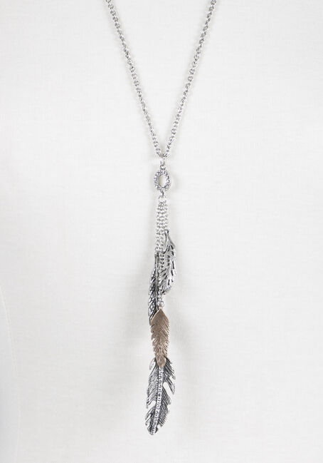 Ladies' Cascading Leaves Necklace, MIXED METALS, hi-res