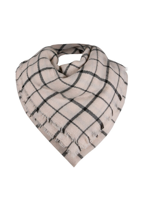 Ladies' Plaid Square Scarf, WINTER WHITE, hi-res