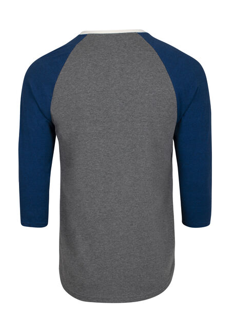 Men's Everyday Henley Baseball Tee, ROYAL BLUE, hi-res