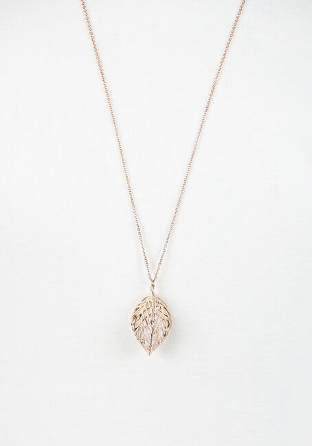 Ladies' Caged Leaf Necklace, GOLD, hi-res