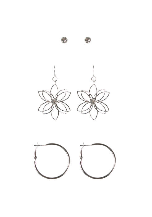 Ladies' Daisy Trio Earring Set, RHODIUM, hi-res