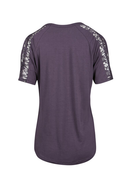 Ladies' Lace Cold Shoulder Tee, SHADOW PURPLE, hi-res