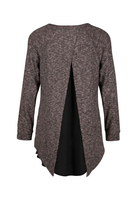 Ladies' Rib knit Pullover, BROWNSTONE, hi-res