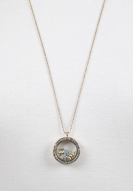 Ladies' Encased Rhinestones Necklace, GOLD, hi-res