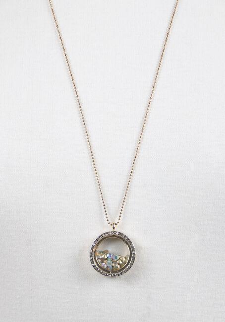 Ladies' Encased Rhinestones Necklace, GOLD, hi-res