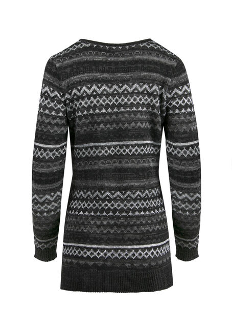 Ladies' Lurex Nordic Sweater, CHARCOAL, hi-res