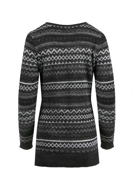 Ladies' Lurex Nordic Sweater, CHARCOAL, hi-res