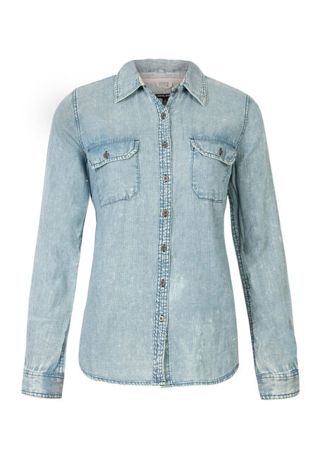 Ladies' Relaxed Fit Denim Shirt, PALE BLUE, hi-res