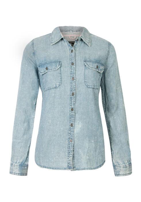 Ladies' Relaxed Fit Denim Shirt, PALE BLUE, hi-res