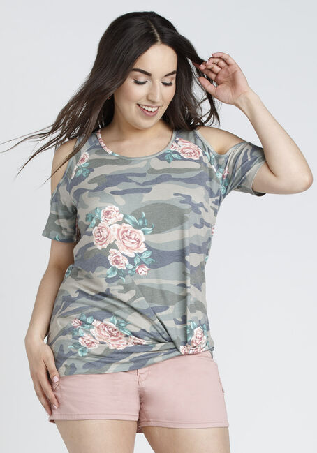 Ladies' Camo Knotted Cold Shoulder Top, IVY, hi-res