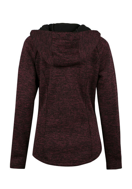 Ladies' Heavy  Zip Up Hoodie, WINE/ BLACK, hi-res