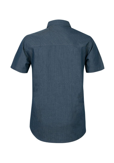 Men's Chambray Print Shirt, NAVY, hi-res