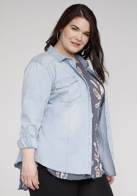 Ladies' Denim Shirt, LIGHT WASH, hi-res