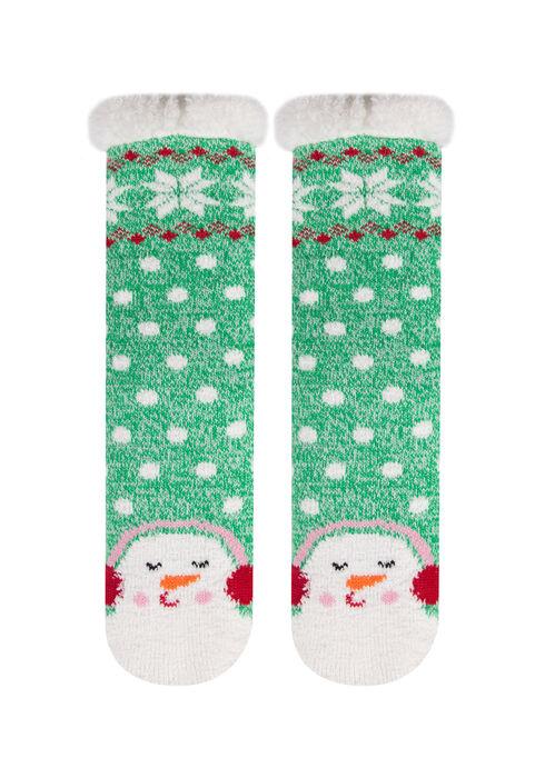 Ladies' Snowman Slipper Socks, GREEN, hi-res