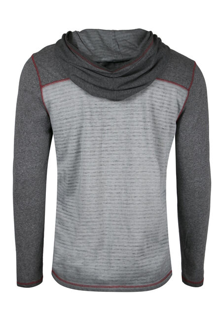 Men's Hooded Stripe Tee, GREY, hi-res