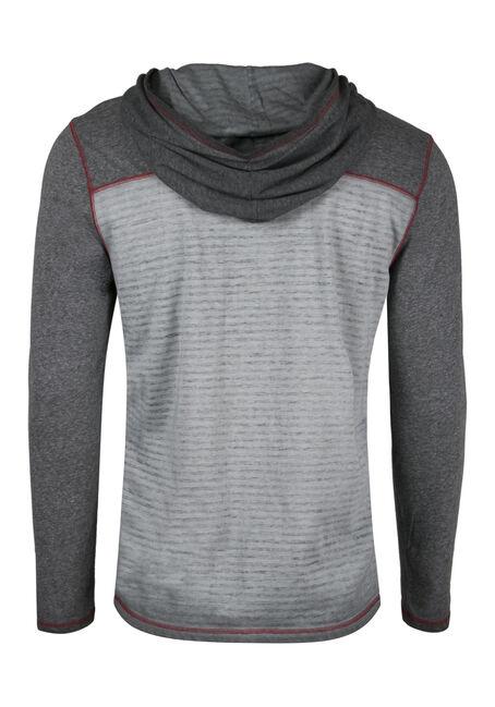 Men's Hooded Stripe Tee, GREY, hi-res