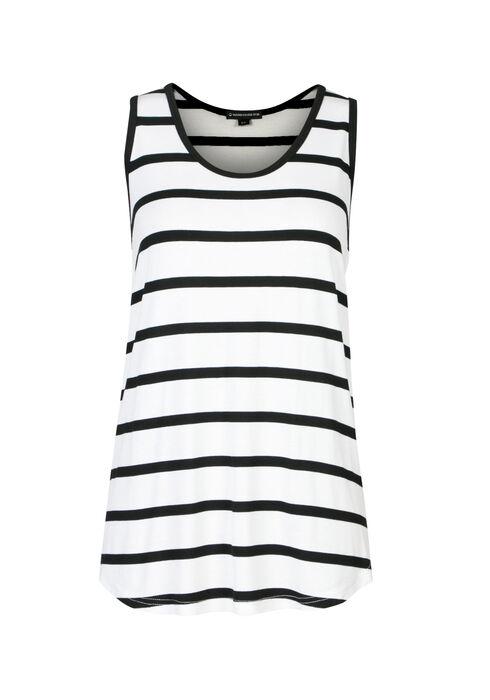 Ladies' Stripe Scoop Neck Tank, WHITE/BLACK, hi-res