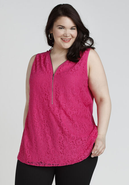 Ladies' Lace Half Zip Tank, RASPBERRY, hi-res