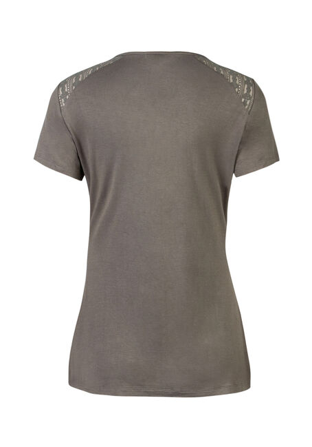Ladies' Lace Up Tee, MOSS, hi-res