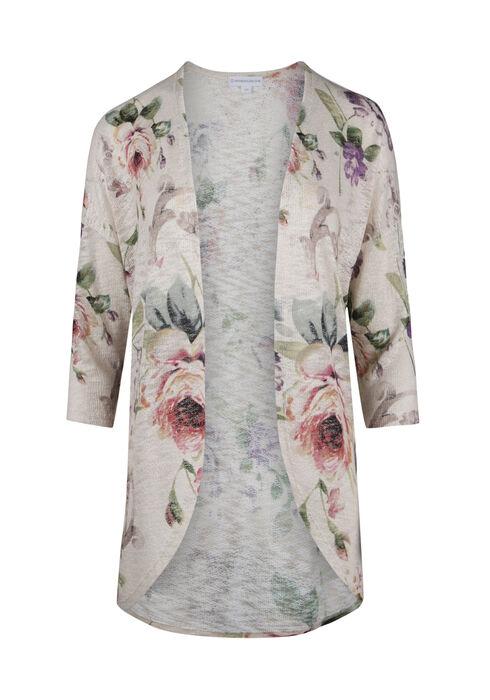 Ladies' Floral Cardigan, OATMEAL COMBO, hi-res