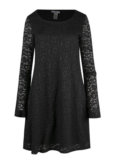 Ladies' Lace Bell Sleeve Dress, BLACK, hi-res