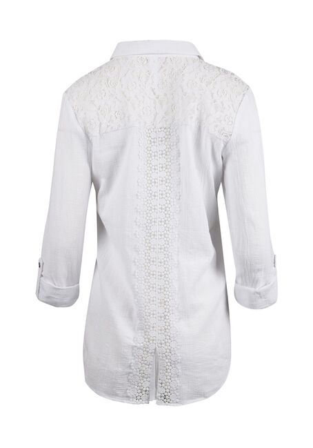 Ladies' Gauze Roll Sleeve Shirt, WHITE, hi-res
