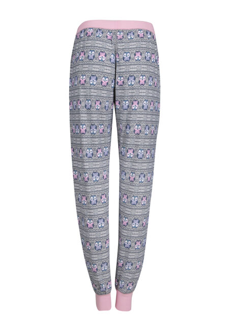 Ladies' Owl Plush Lounge Jogger, LIGHT PINK, hi-res