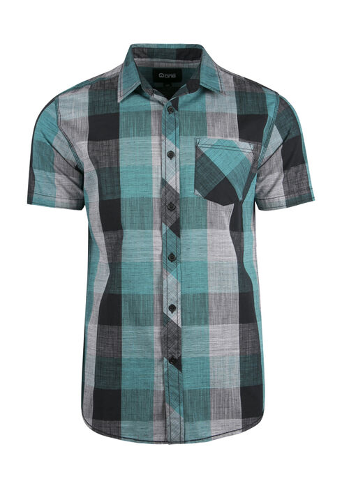 Men's Linear Plaid Shirt, TEAL, hi-res
