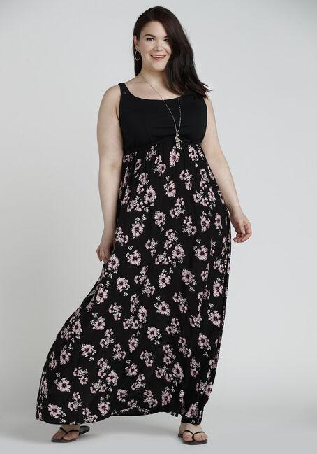 Ladies' Floral Maxi Dress, BLACK/PINK PRINT, hi-res