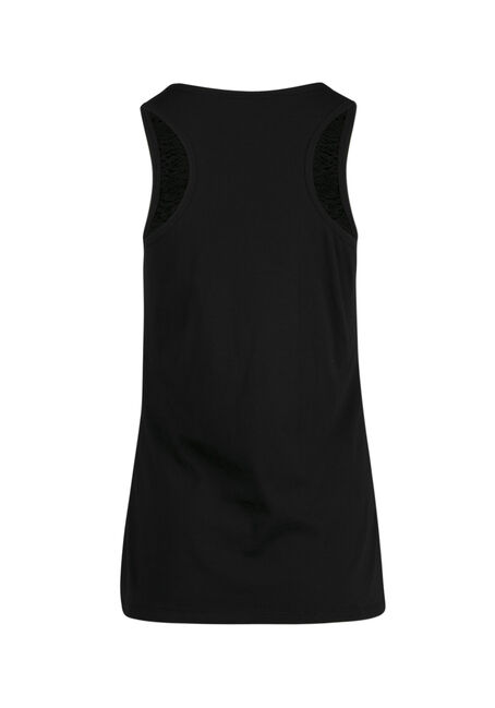 Ladies' Lace Front Tank, BLACK, hi-res