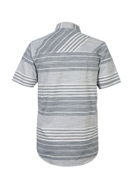 Men's Stripe Linen Shirt, BLUE, hi-res