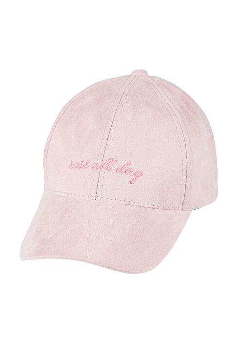 Ladies'  Faux Suede Baseball Hat, PINK, hi-res