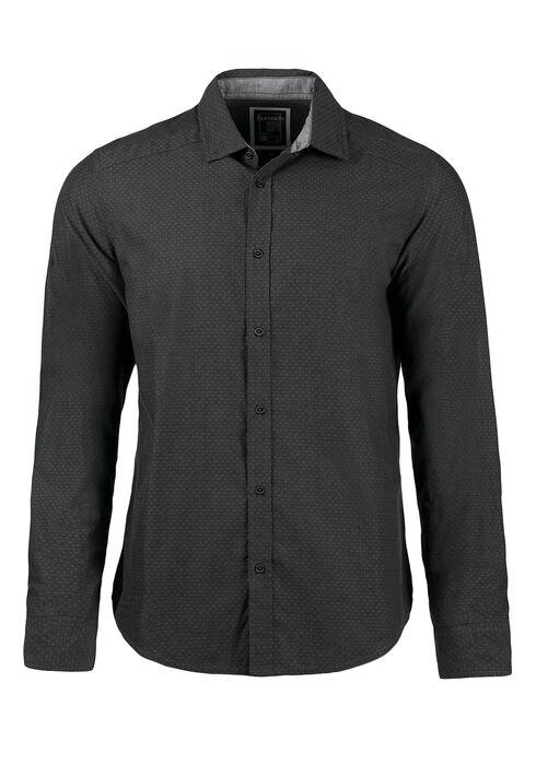 Men's Textured Pattern Shirt, Gunmetal, hi-res