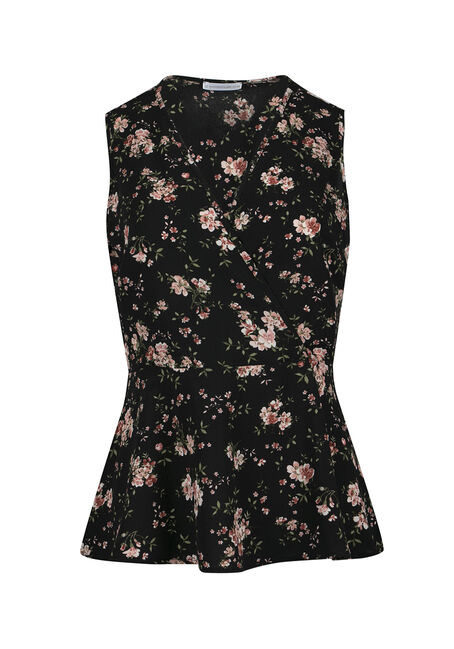 Ladies' Floral Wrap Peplum Tank