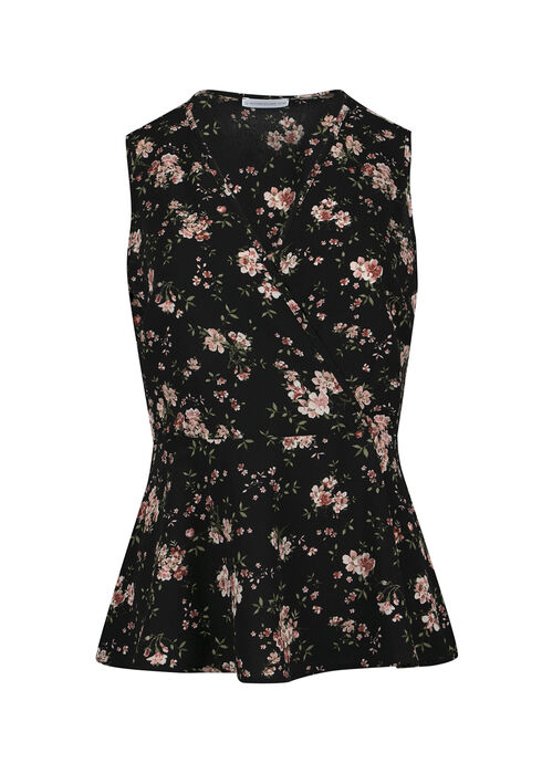 Ladies' Floral Wrap Peplum Tank, BLACK, hi-res