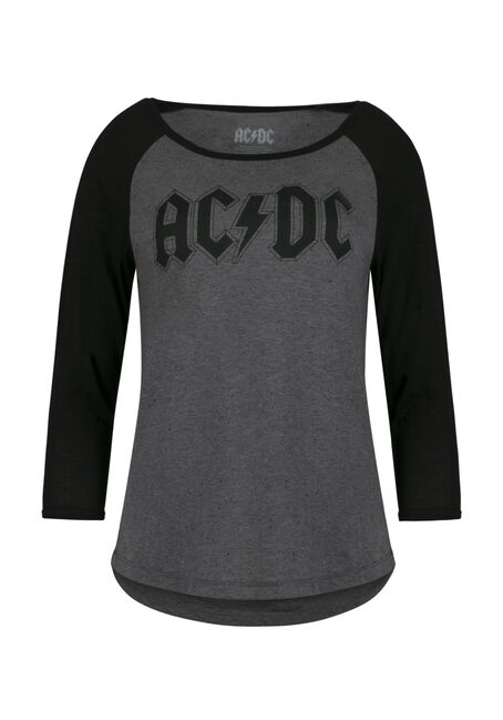 Ladies' AC/DC Baseball Tee, CHARCOAL, hi-res