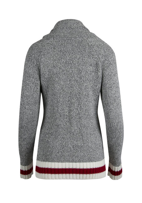 Ladies' Zip Front Cabin Cardigan, GREY MELANGE, hi-res