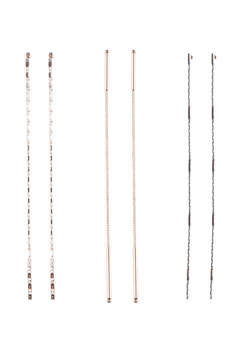 Ladies' Trio Chain Earrings, RHODIUM, hi-res