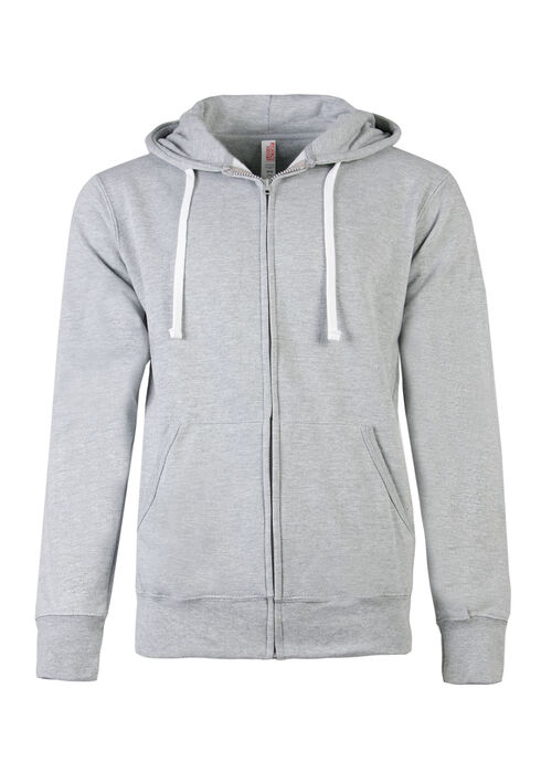 Men's Zip Front Hoodie, HEATHER GREY, hi-res