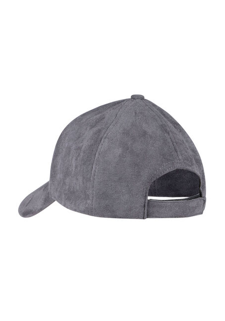 Ladies'  Faux Suede Baseball Hat, CHARCOAL, hi-res