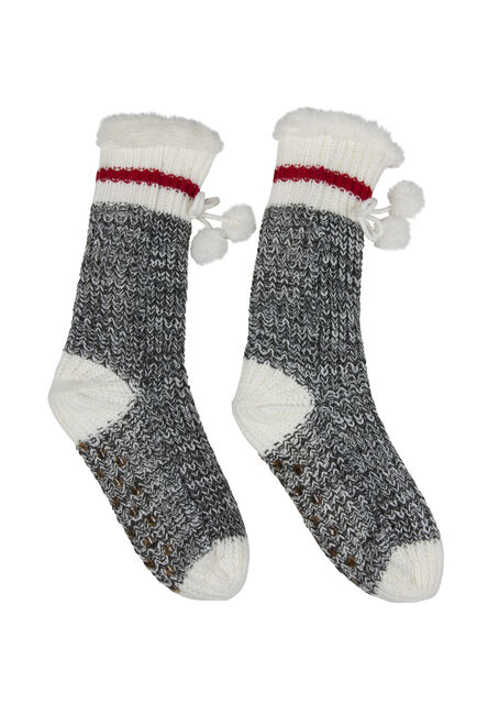 Ladies' Cabin Slipper Sock, RED, hi-res