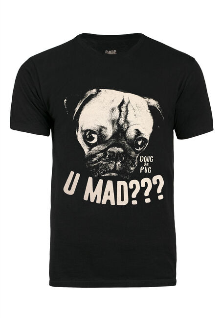 Men's Doug the Pug Tee, BLACK, hi-res