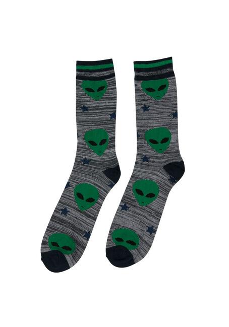 Men's Alien Crew Sock, GREEN, hi-res