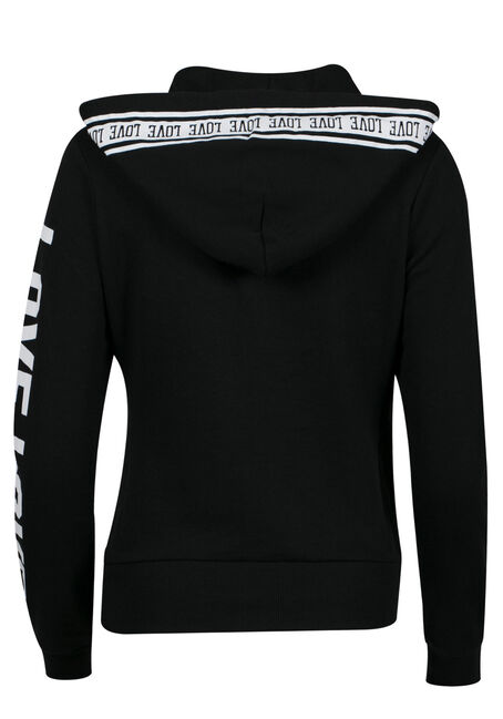 Ladies' PLus Size Love Zip Up Hoodie, BLACK, hi-res