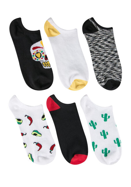 Ladies' 6 Pair Sugar Skull Socks