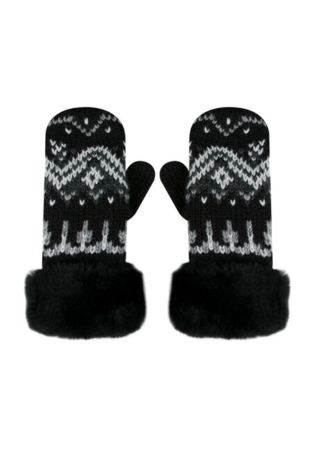 Ladies' Faux Fur Trim Nordic Mittens, BLACK, hi-res