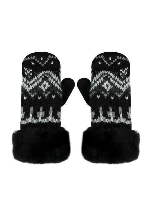 Ladies' Faux Fur Trim Nordic Mittens, BLACK, hi-res